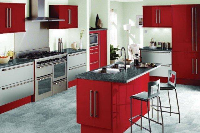 дизайн кухни красный цвет