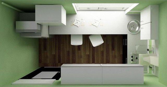 дизайн кухни вид сверху
