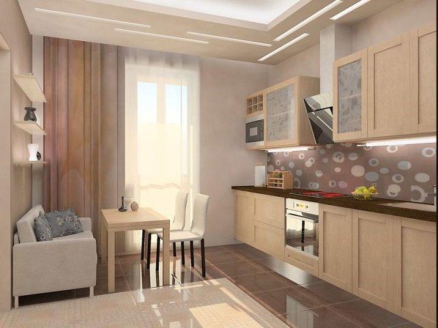 Кухня 11 кв м дизайн с диваном с выходом