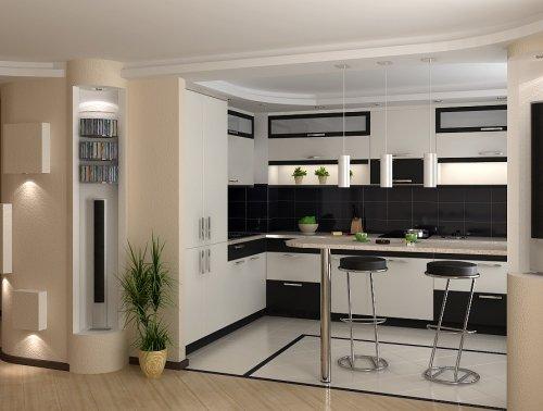 дизайн кухни с барной стойкой у окна