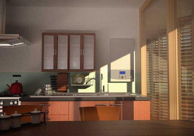 дизайн малогабаритной кухни с газовой колонкой