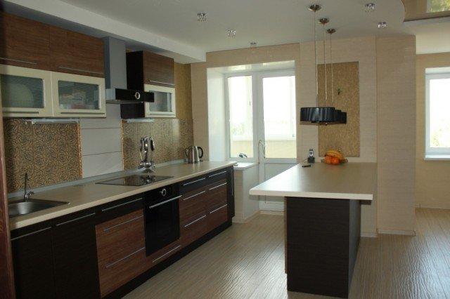 интерьер маленькой кухни с барной стойкой фото