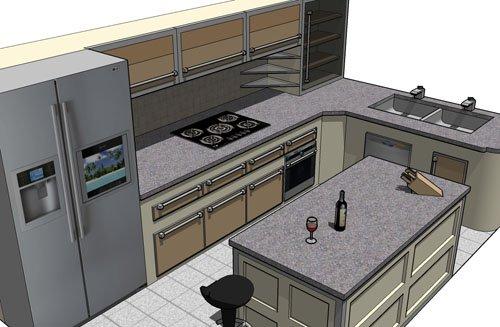 пример дизайна кухни с островом