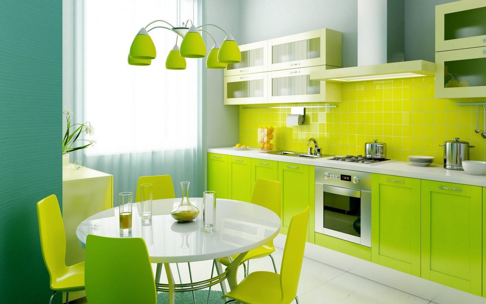 Дизайн кухонь в зеленом цвете