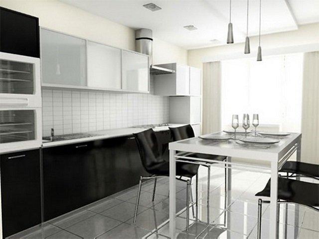 фотография чёрно-белой кухни