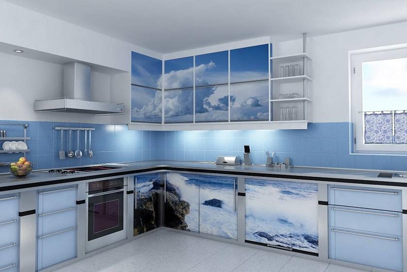 интерьер кухни в голубом цвете