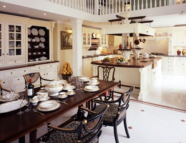 роскошь в оформлении интерьера кухни в английском стиле