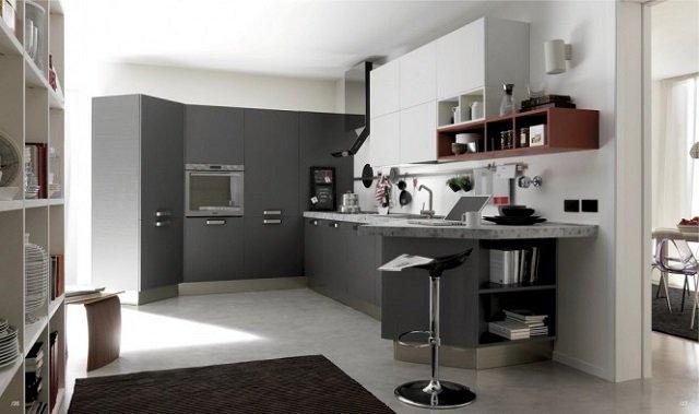 стильное оформление кухни серого цвета