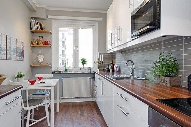 Прямоугольная кухня 15 кв м дизайн