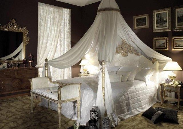 балдахин в интерьере спальни