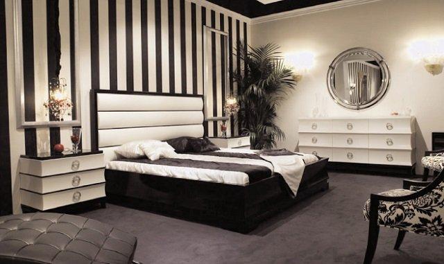 черно белый  дизайн спальни - стильная классика