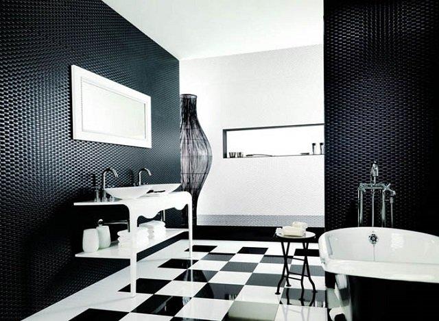 черно-белый дизайн ванной комнаты или классика на века