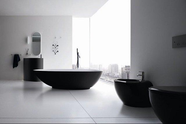 черно-белый дизайн ванной комнаты в наше время