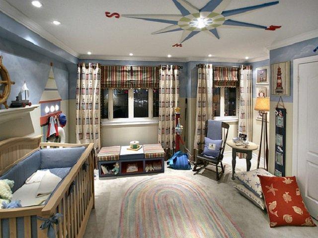 дизайн морского стиля в детской комнате