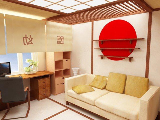 гостиная в интерьере японского стиля