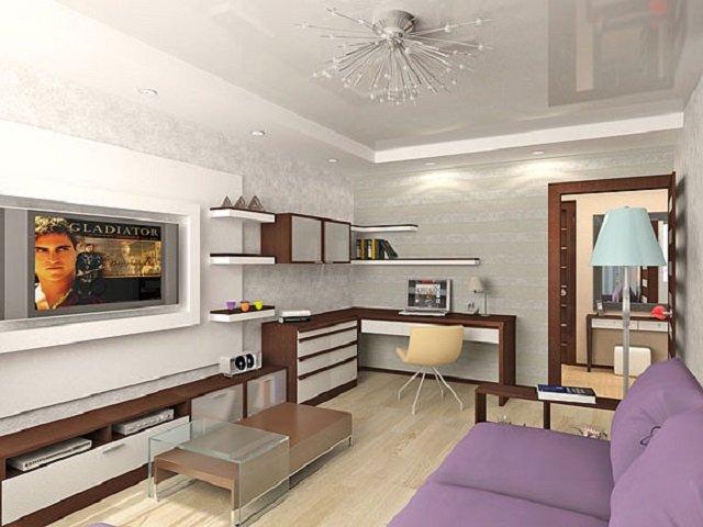 Комната в однокомнатной квартире интерьер