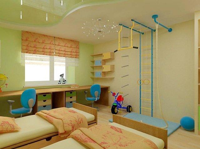 хороший дизайн натяжных потолков в детской комнате