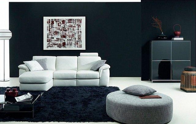 интерьер гостиной в черно-белом стиле