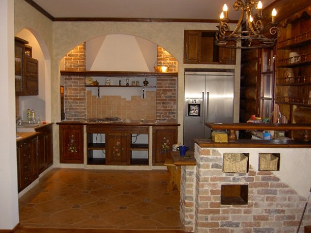 интерьер кухни в деревенском стиле