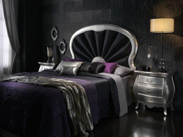 интерьер спальни с темными тонами
