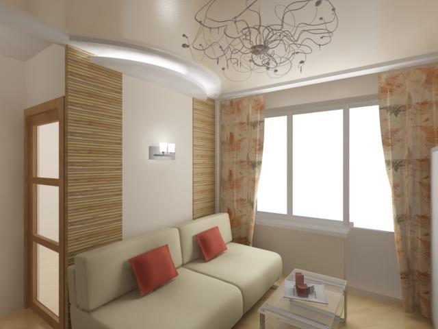 интересный дизайн маленькой гостиной комнаты
