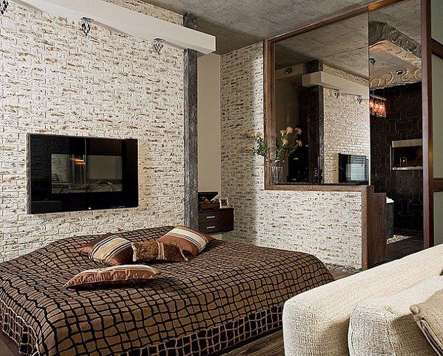 известный дизайн спальни в стиле лофт
