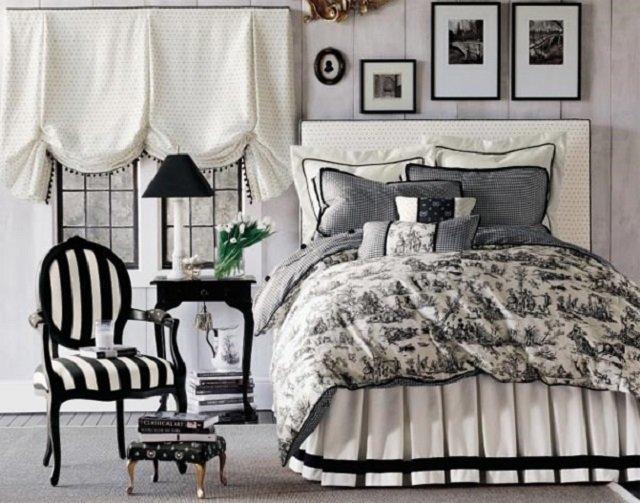 классика в черно белом  дизайне спальни