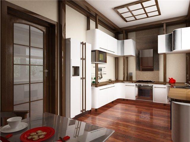 красивый и изысканный интерьер кухни в восточном стиле