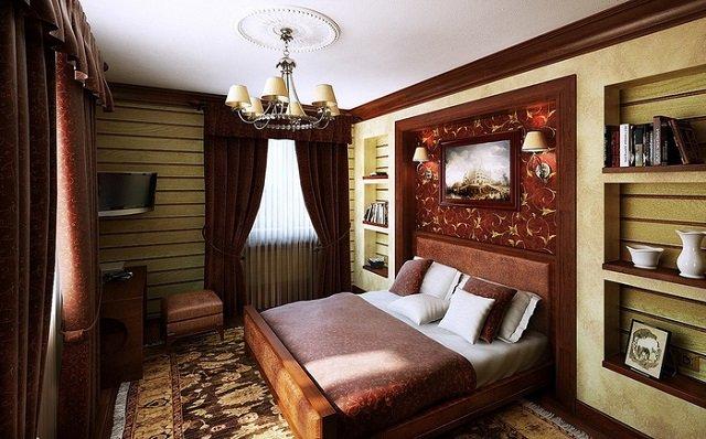 мода на интерьер спальни в темных тонах