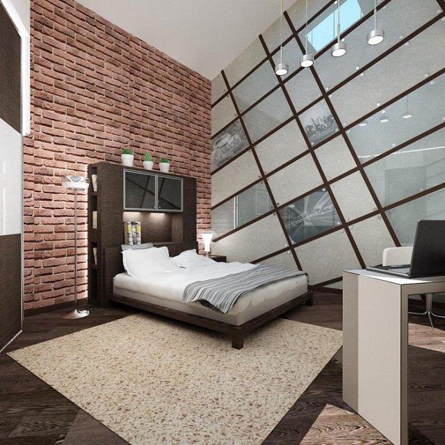 неплохой дизайн спальни в стиле лофт