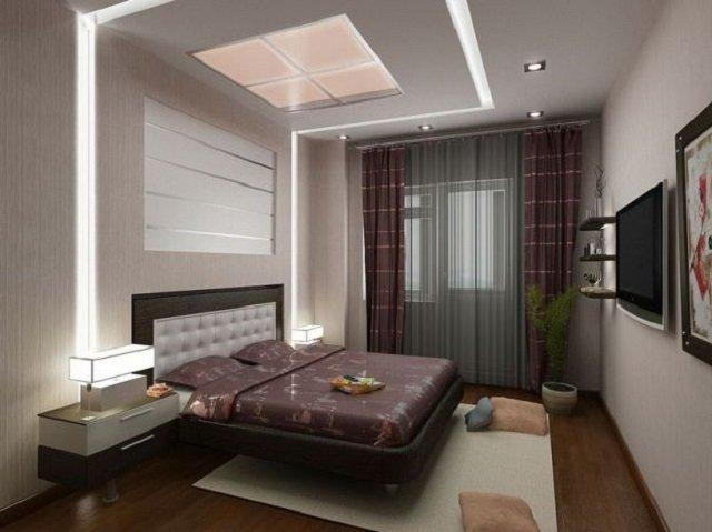 неплохой дизайн спальной в стиле минимализм