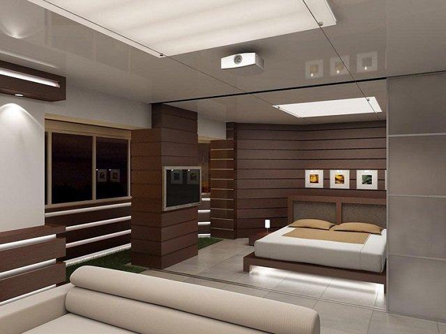неплохой современный дизайн спальни хай тек