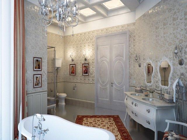 основные черты которые выделяют классический интерьер ванной комнаты