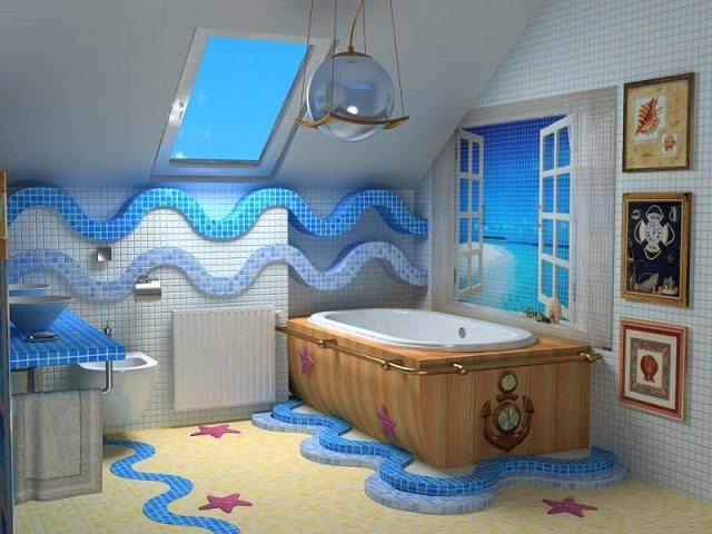 прекрасный дизайн ванной в морском стиле