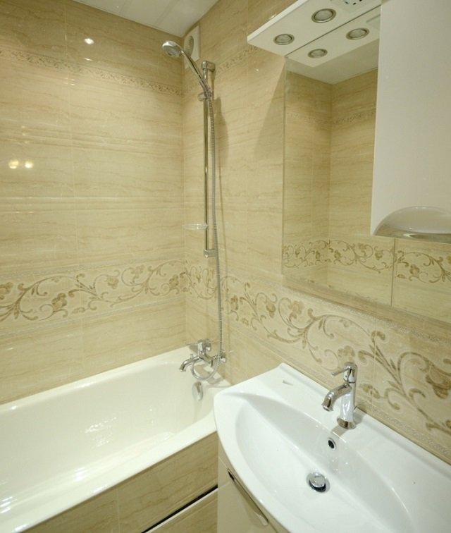 Дизайн плитки ванной комнаты фото в панельном