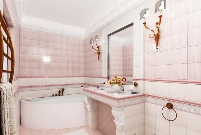 розовые тона в маленькой ванной комнате