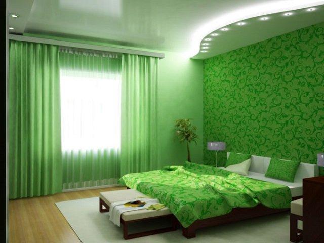 сделать необычный дизайн зеленой спальни