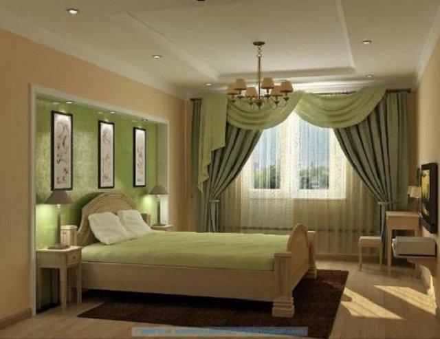 со вкусом дизайн занавесок в спальной комнате