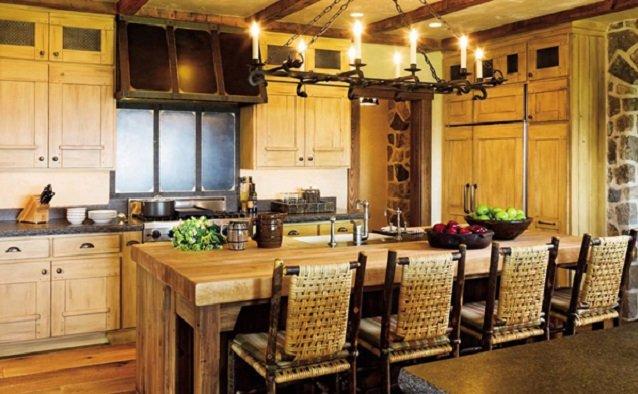 современные деревьяные кухни в деревенском стиле