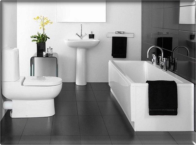 современный черно-белый дизайн ванной комнаты