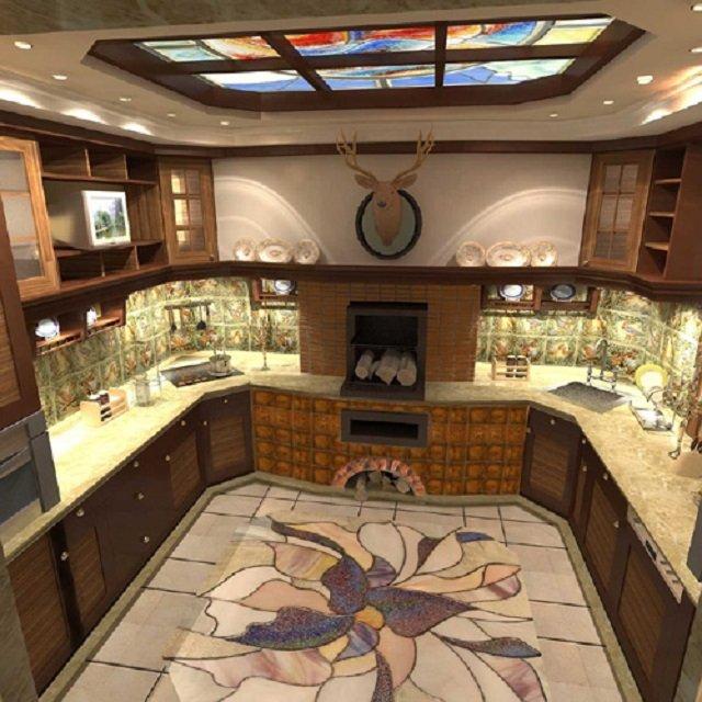 создать интерьер кухни с печкой