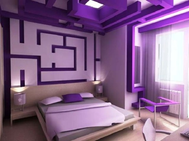 стильные спальни в сиреневом цвете