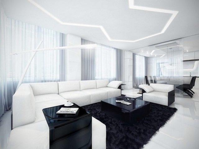 в черно-белом стиле интерьер гостиной