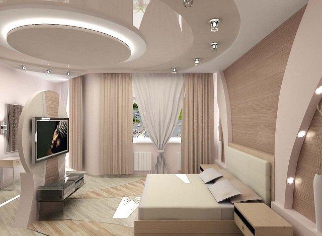 вариант дизайна потолков для спальни