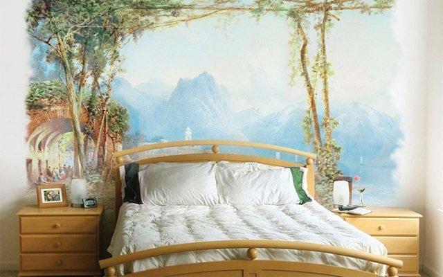 вариант оформления - фрески в интерьере спальни