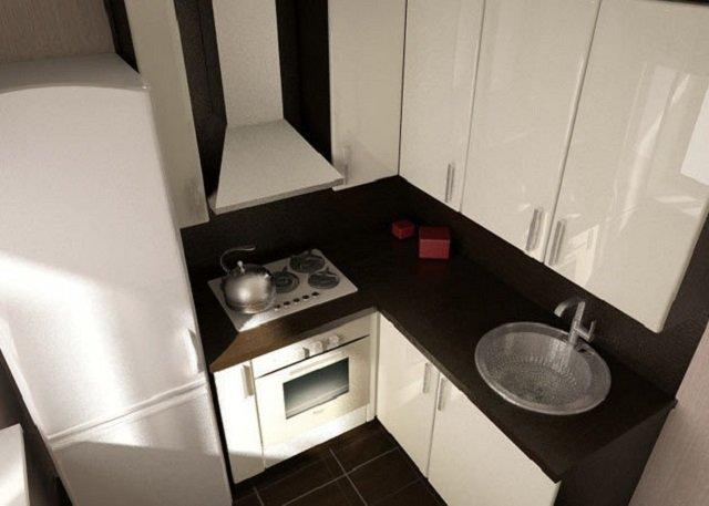 вид интерьера кухни в маленькой квартире
