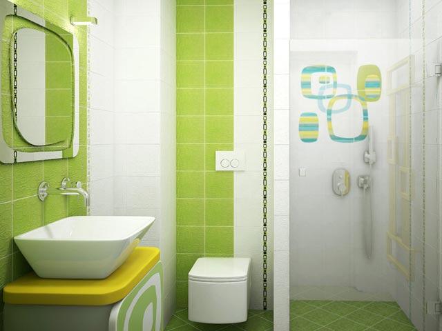 зеленые оттенки в ванной 3х3