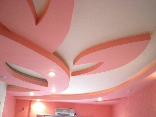дизайн подвесных потолков из гипсокартона, идеи и установка