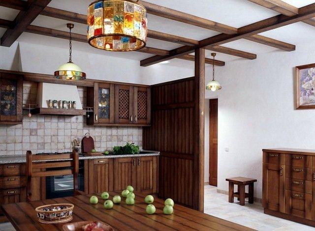 фото потолка на кухне