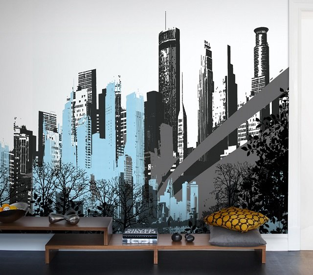 фото обои города в интерьере комнаты